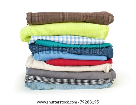 stack of cloth isolated on white - stock photo