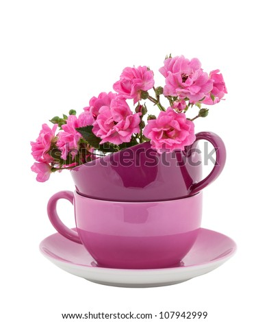 Stack of Coffee Cups with Pink Roses Flowers isolated on white - stock photo