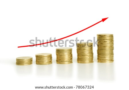 stack of coins in diagram with reflection isolated on white