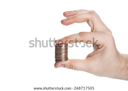stack of coins in hand isolated - stock photo