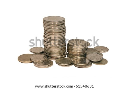 Stack of coins isolated on white background - stock photo