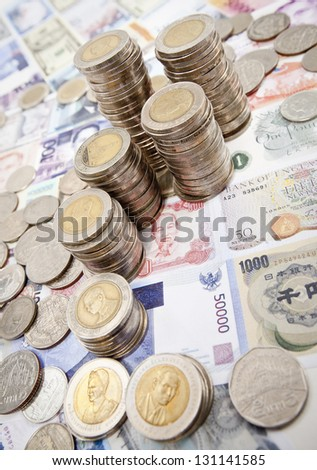 stack of coins on white background