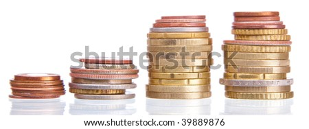 stack of coins on white background . - stock photo