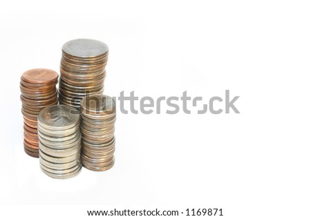 stack of coins over white - stock photo