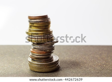 Stack of coins ,Piles of coins - stock photo