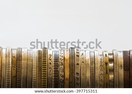 stack of coins, stacked sideways - stock photo