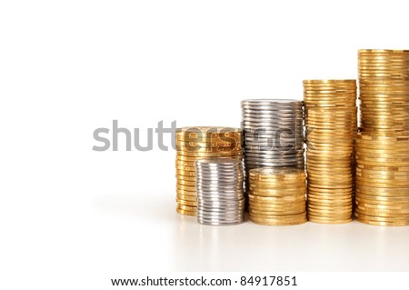 Stack of coins with copy-space - stock photo