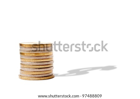 Stack of coins with dollar symbol shadow, on the white background - stock photo