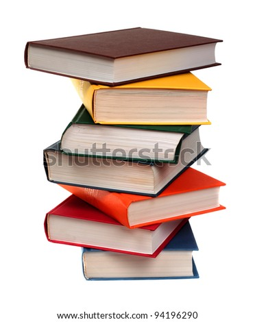 Stack of color books - stock photo