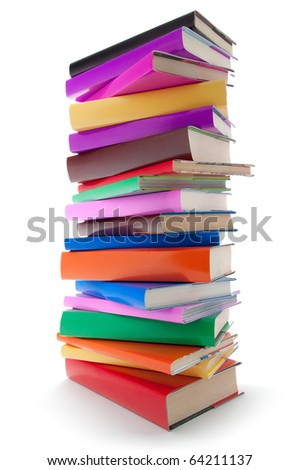 stack of color books on white background. Book column - stock photo