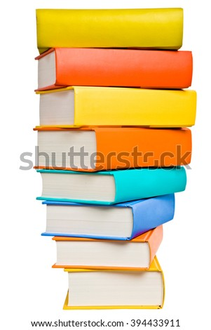 stack of colored book in hemicircle isolated on white