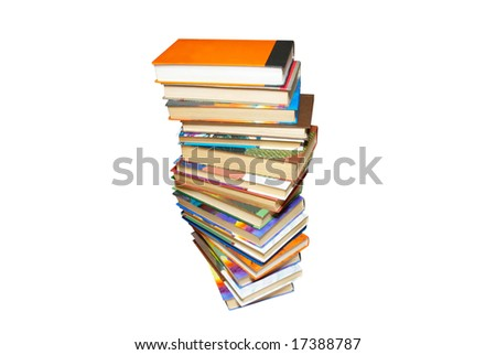 Stack of colored books isolated on white.