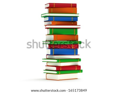 Stack of colored Books on white background. 3d render of studing illustration. Back to school. - stock photo