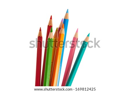 Stack of colored crayons