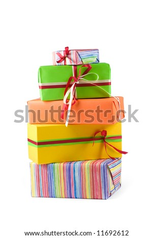 Stack of colored gift boxes. Isolated on white - stock photo