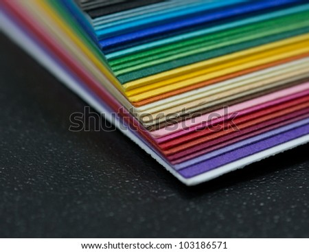 stack of colored paper for creative work - stock photo