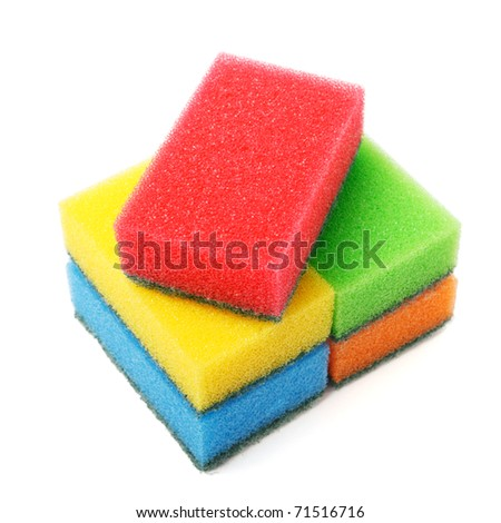stack of colored spunge