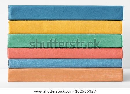 Stack of colorful books. - stock photo