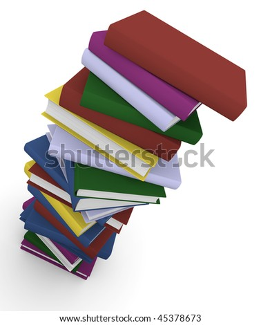 Stack of colorful books. 3D rendered image.