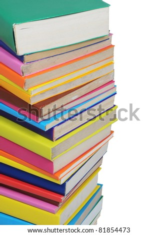 Stack of colorful books isolated on white background - stock photo
