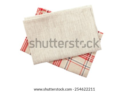 Stack of colorful dish towels isolated on white - stock photo