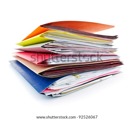 Stack of colorful file folders with papers on white background - stock photo