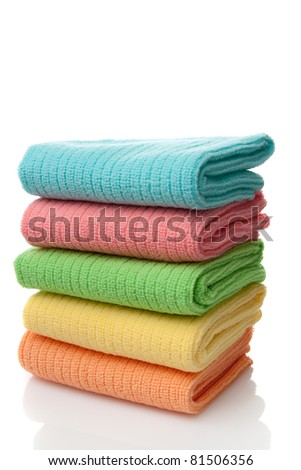 Stack of colorful microfiber towels