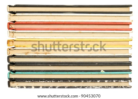 Stack of colorful old books background - stock photo