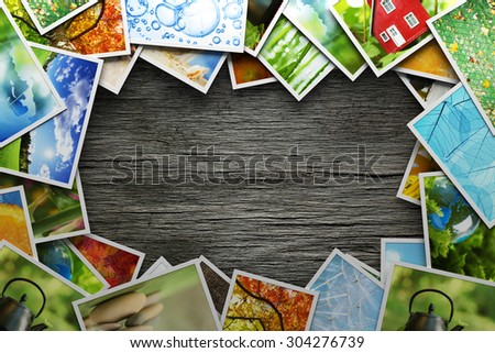 Stack of colorful photos - stock photo