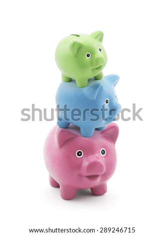 Stack of colorful piggy banks - stock photo