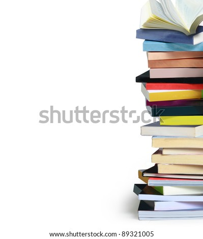 Stack of colorful real books - stock photo