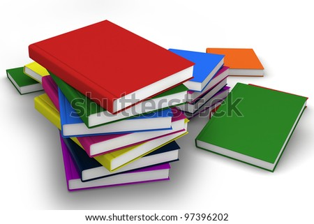 Stack of colorful real books on white background, partial view