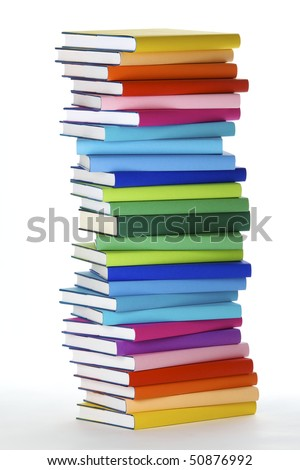 Stack of colorful real books on white background, side view. - stock photo