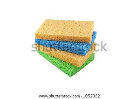Stack of colorful sponges - stock photo