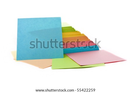 stack of colorful stickers isolated on white - stock photo