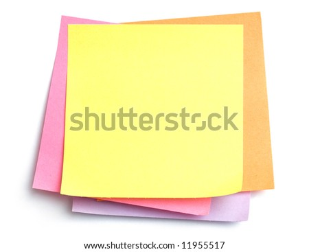 Stack of colorful sticky notes with yellow on top, blank - stock photo