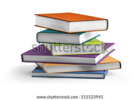 stack of colorful textbooks on white background