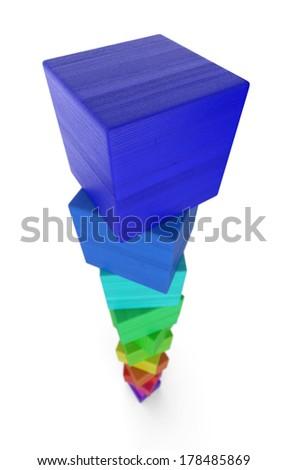 stack of colorful wood bricks 3 - stock photo