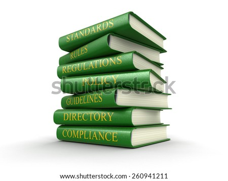 Stack of compliance and rules books (clipping path included) - stock photo