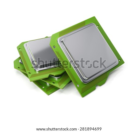 Stack of computer chips isolated on white background. 3d render - stock photo