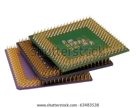 Stack of computer processors isolated on a white background - stock photo