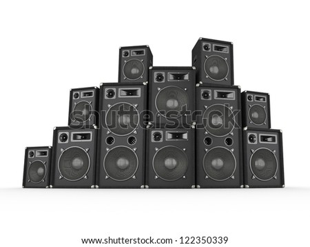 Stack of concert speakers on white background. Computer generated image. - stock photo