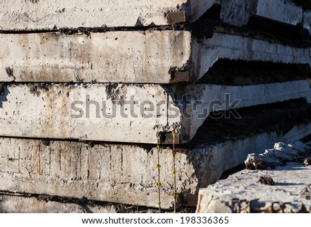 Stack of concrete blocks on the construction site. - stock photo