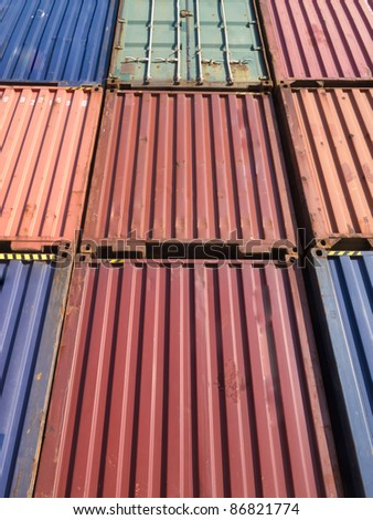 Stack of containers for leasing in the port of Thessaloniki - stock photo
