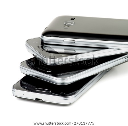 Stack of Contemporary Black Smartphones with Silver Details Cross Section on white background - stock photo