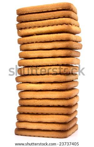 Stack of  cookies isolated on white