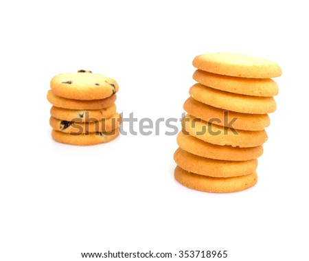 Stack of cookies isolated on white background.
