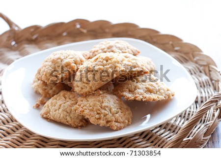 stack of cookies on the plate - stock photo