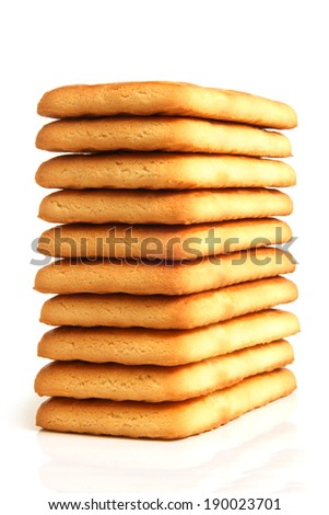 Stack of cookies on white background