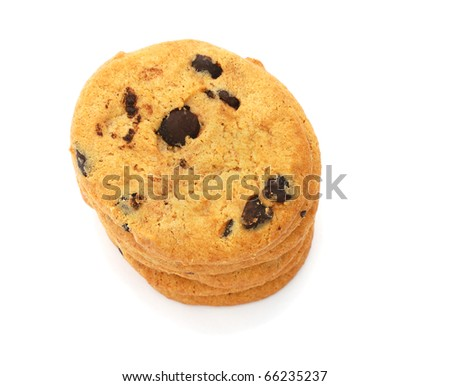 Stack of cookies with chocolate isolated on white background - stock photo
